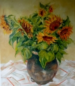 Sonnenblumenstrauß, Öl auf Leinwand