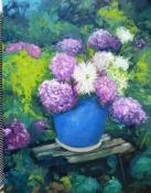 Strauß in blauer Vase, Öl auf Leinwand