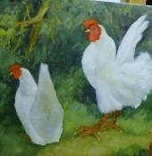Hahn und Henne, Öl auf Leinwand