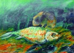 Fischsymbiose, Öl auf Leinwand