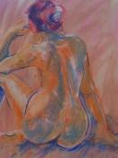 Rückenakt 2, Pastell auf Papier